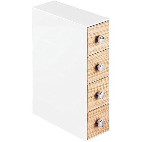 InterDesign–Organizador de cosméticos realwood para mueble armario para sujetar y productos de belleza de maquillaje, color blanco/light acabado de madera