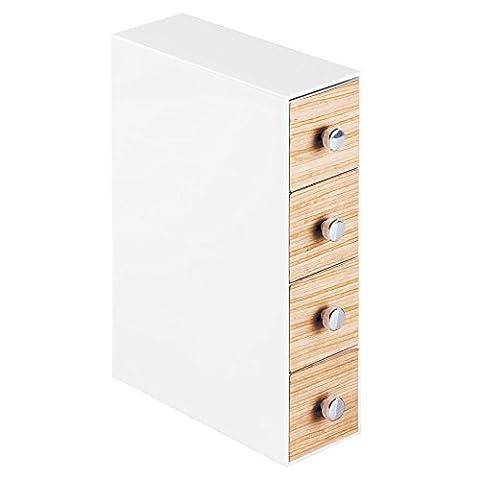 Interdesign 90630EU Realwood Rangement de Cosmétique à Rabat 4 Tiroirs Plastique Blanc/Finition Bois Clair 25,4 x 17,78 x 6,35 cm
