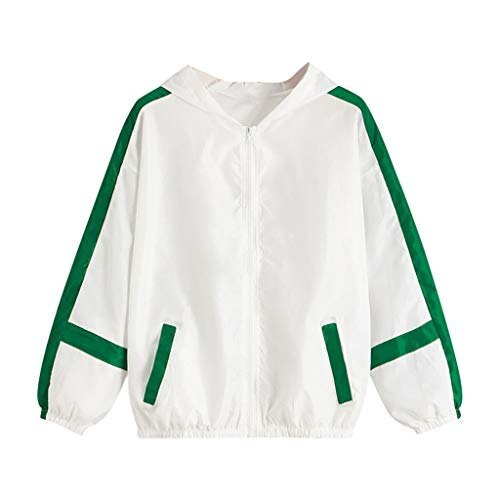 Iwähle ♥ Damen Langarm Patchwork dünne Haut Anzüge mit Kapuze Zip Stitching Outwear Coat - 70er Jahre Kostüm Zum Verkauf