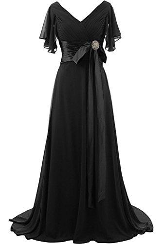 ivyd ressing préférée courte col en V manches longue femme Nœud avec pierres Prom robe Lave-vaisselle robe robe du soir Schwarz