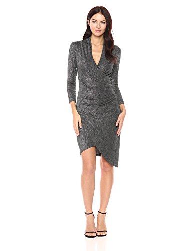 Nicole Miller Women's Silver Glitz Vneck Asymm Dress Womens Nicole Miller