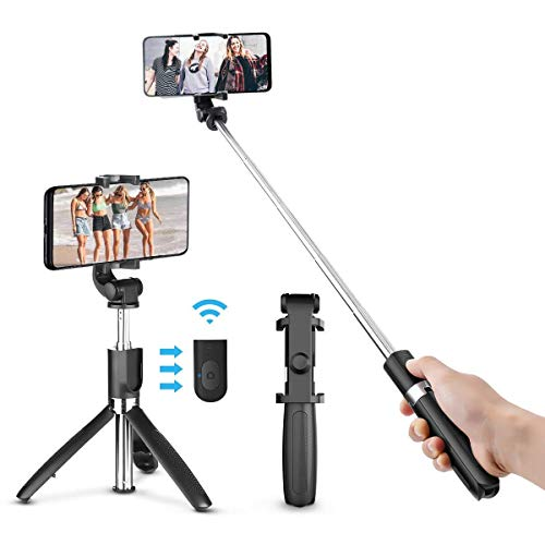 Bastone selfie, elegiant asta selfie bluetooth con asta estendibile fino a 72cm controllo wireless selfie stick treppiede compatibile con smartphone 3,5-6,2 pollici android ios iphone xs xs max xr x 8 8plus ipad samsung s8 s8+ note8 s9 s9+ huawei htc 8x lg laptop galaxy s8 s8 plus bordo s7 s6 nota 8 7 nokia google nexus 7 6