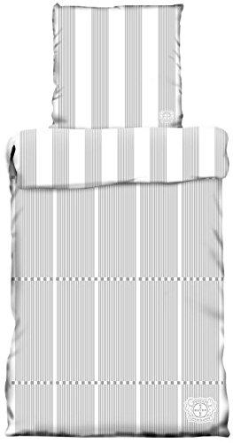 Bayer Leverkusen Wende Bettwäsche 135 x 200 cm Grau Weiß Baumwolle