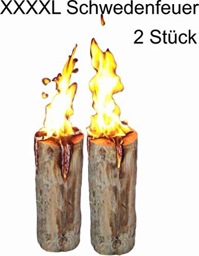*2 Stück Schwedenfeuer Baumfackel Finnenfackel Gartenfackel Fackel Höhe = 60 cm; Ø = 20-25 cm*