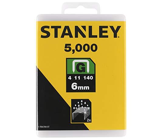 Stanley Klammern Typ G (6 mm, Klammern aus Flachdraht für Elektro- und Handtacker Typ G) 5000 Stück, 1-TRA704-5T