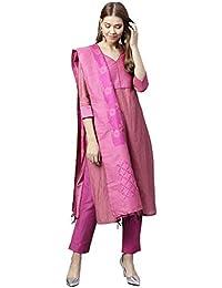 37561f743a Jaipur Kurti Women Pink Solid Straight Chanderi Kurta with Pant Dupatta