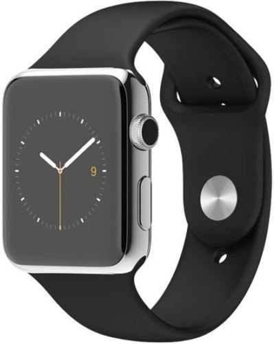 "Apple Watch 42 mm (1ª Generación) - Smartwatch iOS con caja de acero inoxidable en plata (pantalla 1.5"", Apple S1 a 520 MHz, 8 GB, 512 MB RAM), correa deportiva negra"