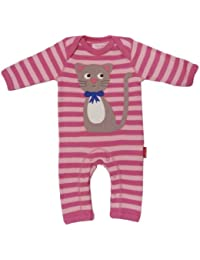 Toby Tiger Sleepsuit Applique Kitty Girl's Baby Grow