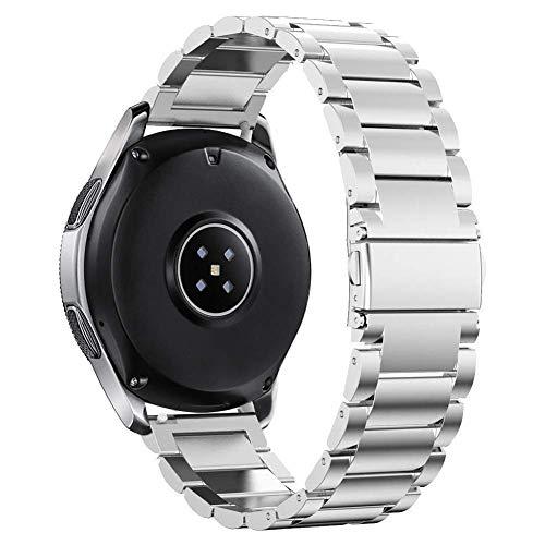 Omter Armband für Samsung Galaxy Watch (46mm),Ticwatch Pro,Amazfit Stratos 2/2S,Huawei Watch 2 Classic,Gear S3 Frontier/Classic, für 22mm XL/S Größe Uhrenarmband Edelstahl Metal Ersatzband(Silber) - X Große S Gear Für Uhrenarmbänder