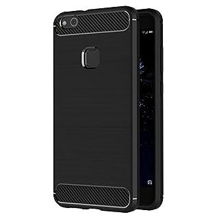 Huawei P10 Lite Hülle, AICEK Schwarz Silikon Handyhülle für P10 Lite Schutzhülle Karbon Optik Soft Case