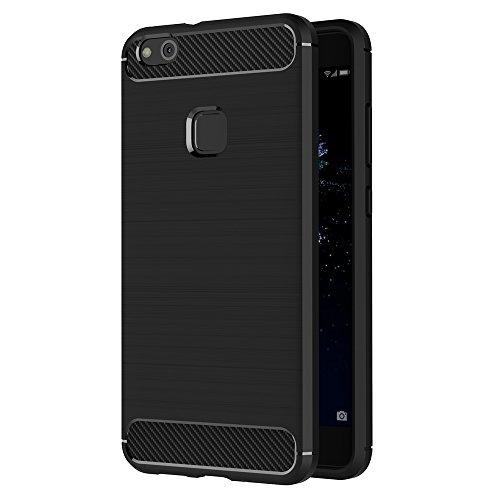 Funda Huawei P10 Lite, AICEK Negro Silicona Fundas para P10 Lite Carcasa Huawei P10 Lite (5,2 Pulgadas) Fibra de Carbono Funda Case