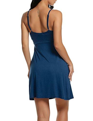 BeautyUU Damen Negligee V-Ausschnitt Nachtkleid Nachthemd Spitze Nachtwäsche Sleepwear Mit Spitze 1-Pfauenblau