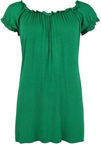 WearAll - Damen Übergröße U-Boot-Ausschnitt Schulterfrei Boho Top - 16 Farben - Größe 42-56 Jade