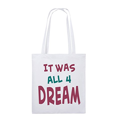 Comedy Bags - It was all four dream - KLEINE ZAHL - Jutebeutel - lange Henkel - 38x42cm - Farbe: Schwarz / Weiss-Neongrün Weiss / Fuchsia-Türkis