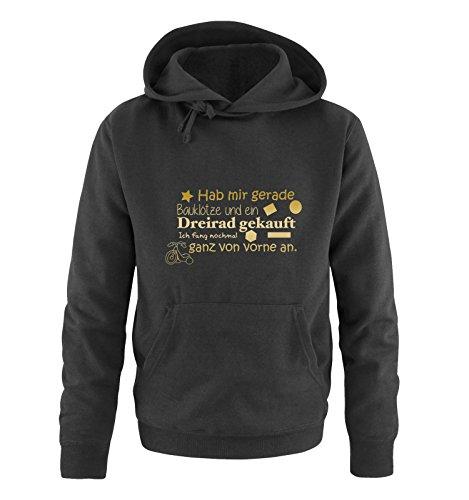 Comedy Shirts - Hab mir gerade Bauklötze und EIN Dreirad gekauft. - Herren Hoodie - Schwarz/Gold Gr. XL
