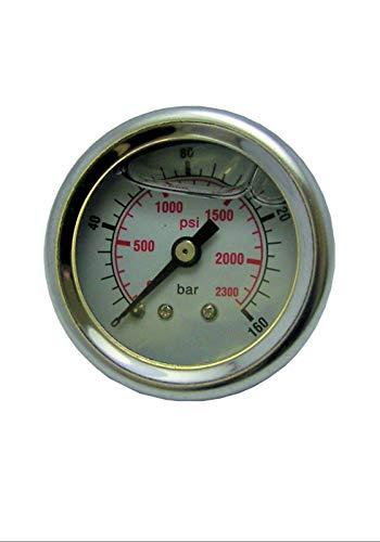 pwpuk Hochdruckreiniger Manometer 0-160 bar 2300 psi Kunststoffkörper Glyzerin gefüllt -