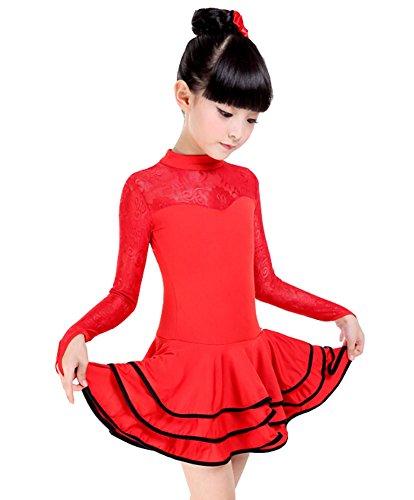 Mädchen neue Spitze Kostüm Leistung Latin Dance Kleid RED (125-135CM (Kostüm Materialien Tanz Uk)
