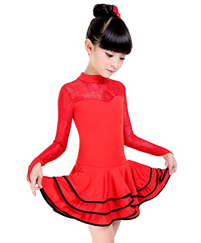 Kostüm Leistung Latin Dance Kleid RED (125-135CM Höhe) (Billig Teen Kostüme)