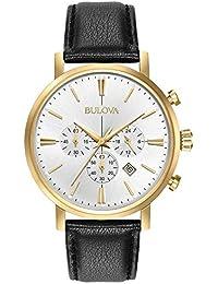 Bulova Men's Designer Chronograph Watch Leather Strap - Gold Classic Aerojet 97B155