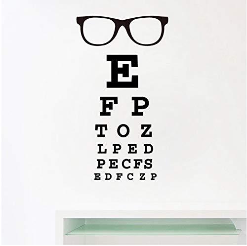 YXBB Brille Augendiagramm Brief Kunst Wandtattoos Spec Rahmen Vinyl Aufkleber Augenarzt Optik Brille Schaufenster Tür Dekoration 56x33cm
