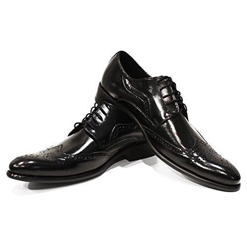 PeppeShoes Modello Grobbo - 45 EU - Handgemachtes Italienisch Leder Herren Schwarz Wing Tip Schuhe Abendschuhe Oxfords - Rindsleder Geprägtes Leder - Schnüren Wing Tip Oxford Lace