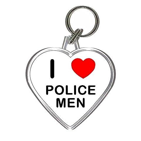 I Love Heart Police Men - En forme de coeur en plastique Porte-clés