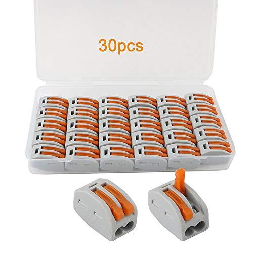 FULARR 30Pcs Premium PCT-212 Lever-Nut, Conducteur Compact Splicing Fils Connecteurs, Printemps Bornier Pousser Câble Fil Connecteur –– 2 Port