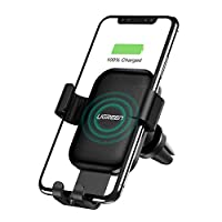 UGREEN Wireless Charger Car Phone Mount, 10W Qi Automatic Clamping Dashboard Air Vent Phone Holder Compatible with iPhone 12 mini/12/12 Pro/12 Pro Max/ 11/11 Pro/11 Pro Max/Xs Max/XS/XR/X