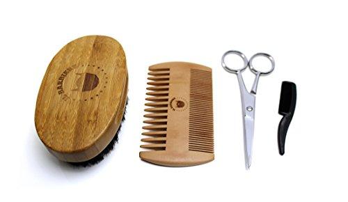 Set de rasage avec petite brosse et ciseaux – Kit complet pour l'entretien de la barbe