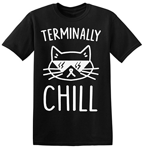 Terminally Chill Cool Cat With Sunglases Men's T-shirt Medium (Hipster-sunglases)