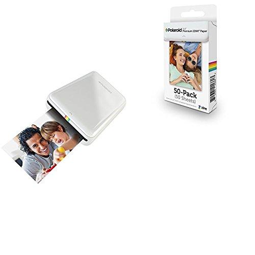 Polaroid ZIP - Impresora móvil (Bluetooth, NFC, micro USB, tecnología ZINK Zero Ink, 5 x 7.6 cm, compatible con iOS y Android), color blanco + Polaroid M230 - Pack de 50 papeles fotográficos, color blanco