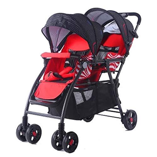 GJF Zwillingskinderwagen Können Sitzen Und Falten, Leichte Doppelkinderwagen Mit Doppelkinderwagen (Farbe : Red)