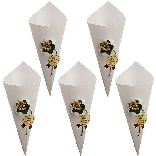 Gudotra kit 50 coni bianca portaconfetti matrimonio scatole confetti bomboniere+50 fiore decorativo+50 fiori bianchi artificiali+50 etichetta adesivo+1 nastro biadesivo per riso bouquet caramella compleanno battesimo comunione