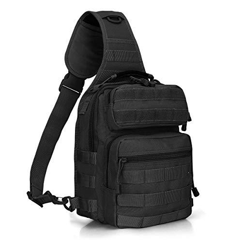 G4free, zaino tattico leggero per attività all'aperto, stile militare, sportivo, da assalto, a spalla, monospalla, per campeggio, escursionismo, trekking, black-1