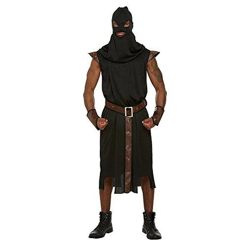 Erwachsene schwarz Henker Stil Bademantel & Kapuze Halloween Kostüm