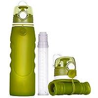 ELLANM Faltbare Flasche 100% BPA-Freie Wasserflasche Mit Lecksicherheitsventil Für Camping, Sport, Outdoor und Reise, Sportflasche, 750Ml,Green