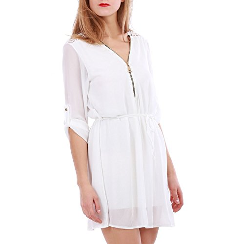 La Modeuse - Robe courte fluide à manches 3/4 muni d'une ceinture en tissu à la taille Blanc