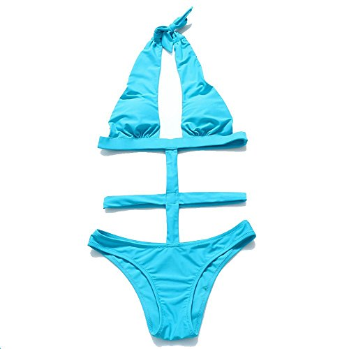 Frauen WANGXN einteilige Badebekleidung Bikini weiß schwarz rot blau , sky blue , l (Blau Jungen Sky Camo)