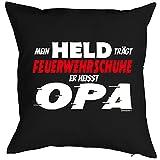 Opa/Kinder/Deko-Kissenbezug ohne Füllung inkl. Spaß-Urkunde lustige Sprüche: Mein Held trägt Feuerwehrschuhe Er heisst Opa Test