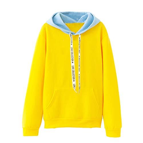 YWLINK Mode Damen Einfarbig Kapuzenpulli Lange ÄRmel Brief Kordelzug BeiläUfig Pullover Top Bluse(M,Gelb - Super Coole Selbstgemachte Kostüm