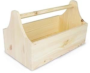 laublust werkzeugkasten aus holz zur aufbewahrung in gr e m kiefer unbehandelt ca 34 x 20 x. Black Bedroom Furniture Sets. Home Design Ideas