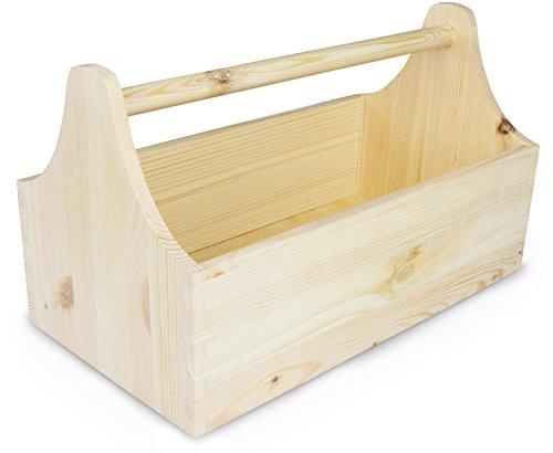LAUBLUST Werkzeugkasten aus Holz zur Aufbewahrung in Größe M - Kiefer Unbehandelt ca. 34 x 20 x 18 cm - Werkzeugkiste mit Tragegriff