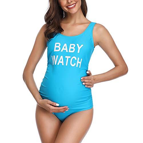 Traje de baño Mujer Maternidad Premamá Playa Espalda Abierta Color Sólido Azul XL