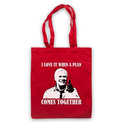 Inspiriert durch A Team Hannibal I Love It When A Plan Comes Together Inoffiziell Umhangetaschen Rot