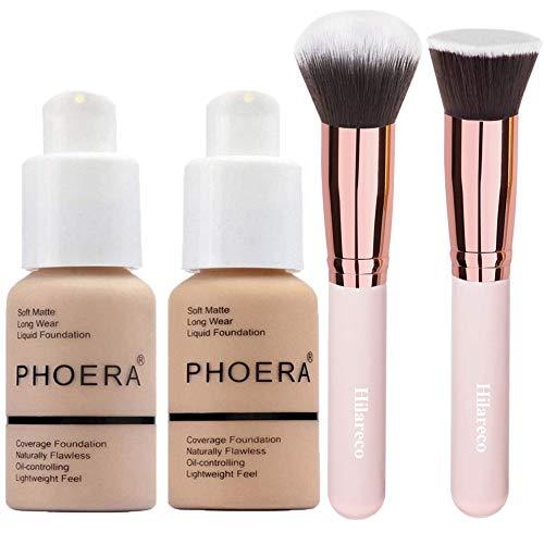 Phoera Foundation Concealer Cover Flüssigmatt Full Coverage Concealer Cover Shadows Skin Care Foundation Oil Control Erhellen Sie den langlebigen Shade Nude #102,Buff Beige #104
