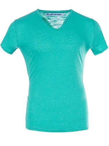 M447 TONY MORO Herren Basic Shirt T-Shirt Kurzarm V-Neck Clubwear V-Ausschnitt Grün
