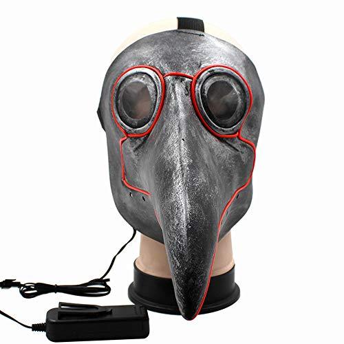 Lixinfushi Lustige Led Maske, Plage Doktor Steampunk Vogel Maske, Lange Nase Party Cosplay Kostüm Weihnachten Neujahr Halloween - Lustige Doktor Kostüm