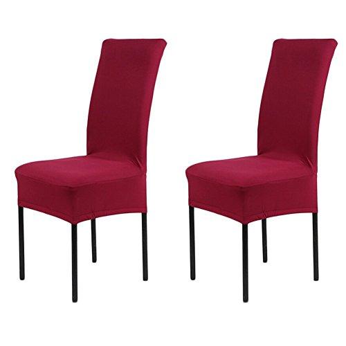 2er Set Universal Stuhlhussen Stuhl-Abdeckung Stuhlhusse Bürostuhl Deckungen Hocker Sets Stuhlbezüge Stuhlüberzüge für Hochzeit Dekoration Schwarz/Rot/Weiss/Beige/weinrot/Champagne (weinrot)