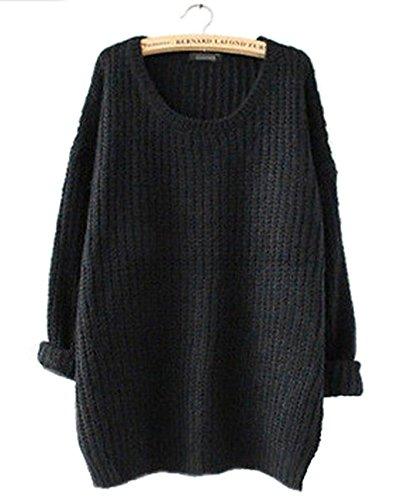 Smalltile Donna Maglietta Mini Abito Casuale Maglioni Oversize Sweatshirt Jumper Pullover Maniche Lunghe Maglia Maglione Girocollo Tops Nero