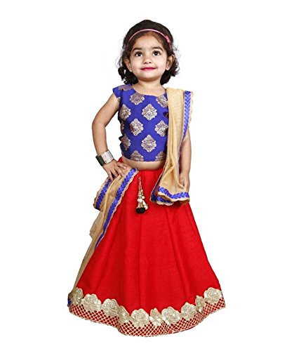 Cartyshop new arrival Baby Girl's Royal Blue Red Pure Jacquard N Banglori...